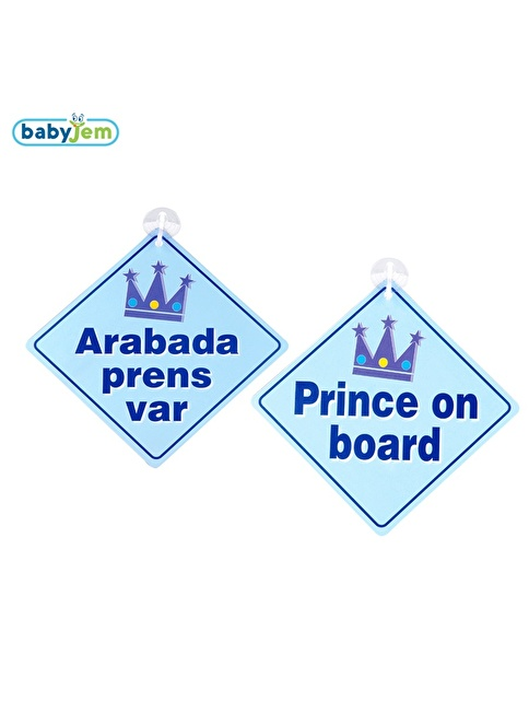 Baby Jem Babyjem Araba Cam Yazısı Dikkat Bebek Var Mavi